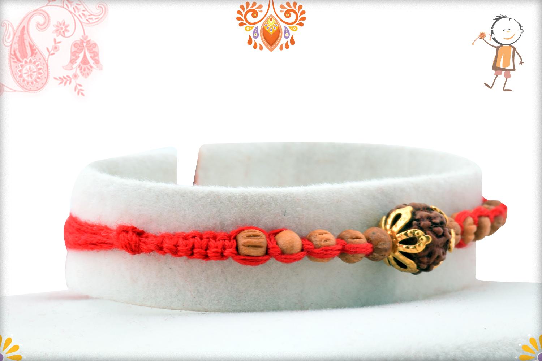 Aspicious Rudraksha With Designer Thread And Wooden Beads Rakhi 2