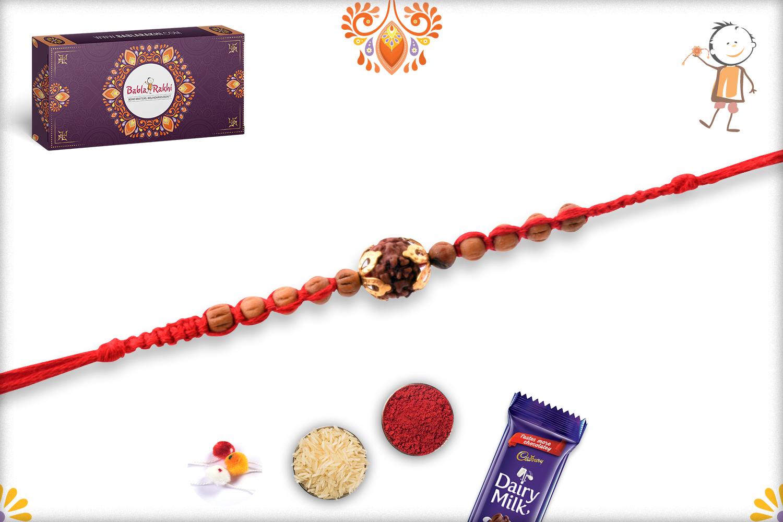 Aspicious Rudraksha With Designer Thread And Wooden Beads Rakhi 3