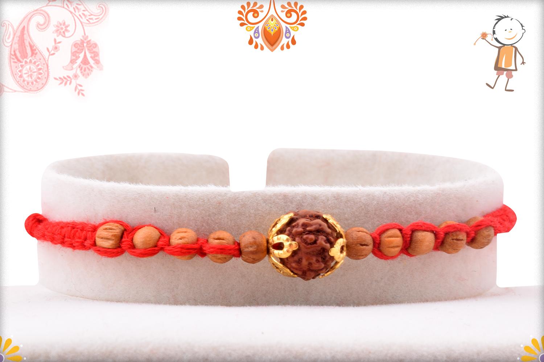 Aspicious Rudraksha With Designer Thread And Wooden Beads Rakhi 1