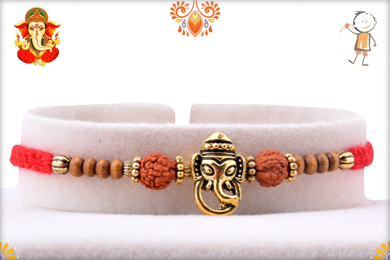 Prosporus Golden Ganpati With Rud Rakhi 1