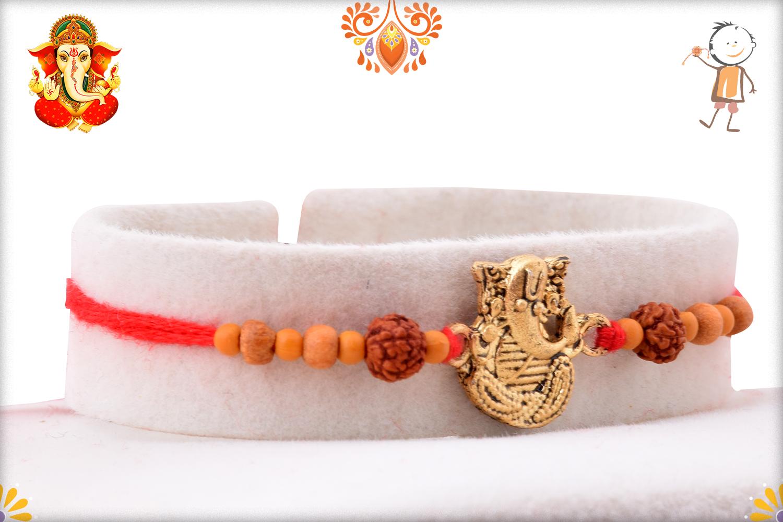 Antique Metal Base Golden Ganpati With Wooden Beads And Rudraksha Rakhi 2