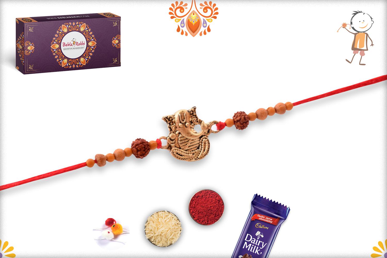 Antique Metal Base Golden Ganpati With Wooden Beads And Rudraksha Rakhi 3