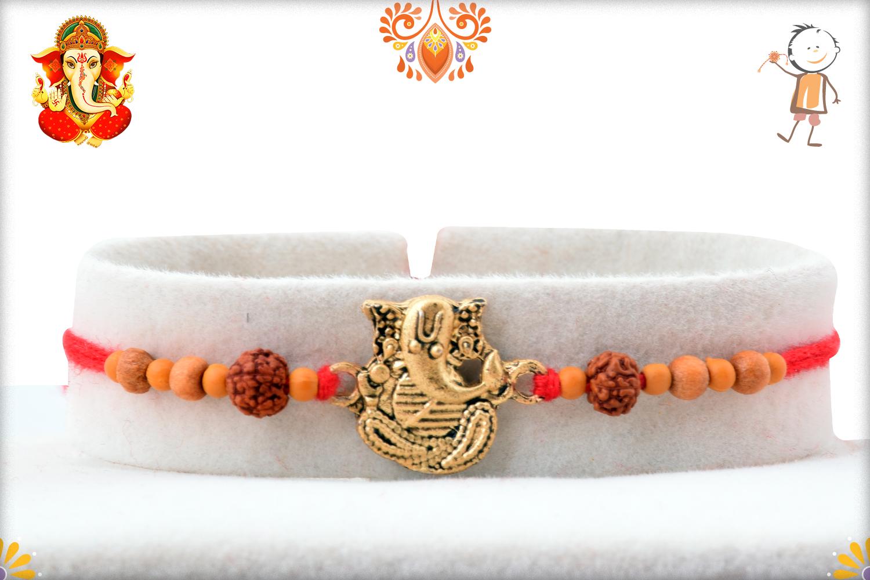 Antique Metal Base Golden Ganpati With Wooden Beads And Rudraksha Rakhi 1