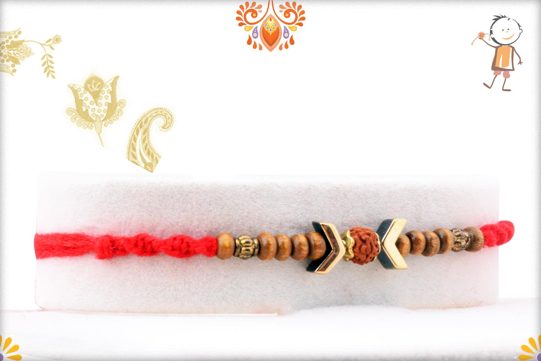 Stunning Wooden Beads Rakhi With Rudraksha In Center And Designer Thread 2