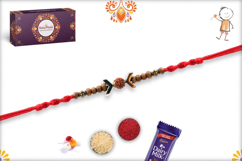 Stunning Wooden Beads Rakhi With Rudraksha In Center And Designer Thread 3