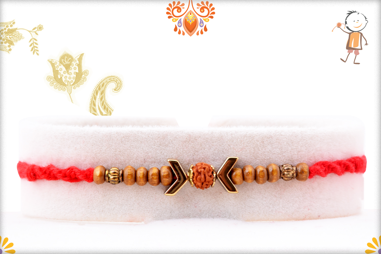 Stunning Wooden Beads Rakhi With Rudraksha In Center And Designer Thread 1