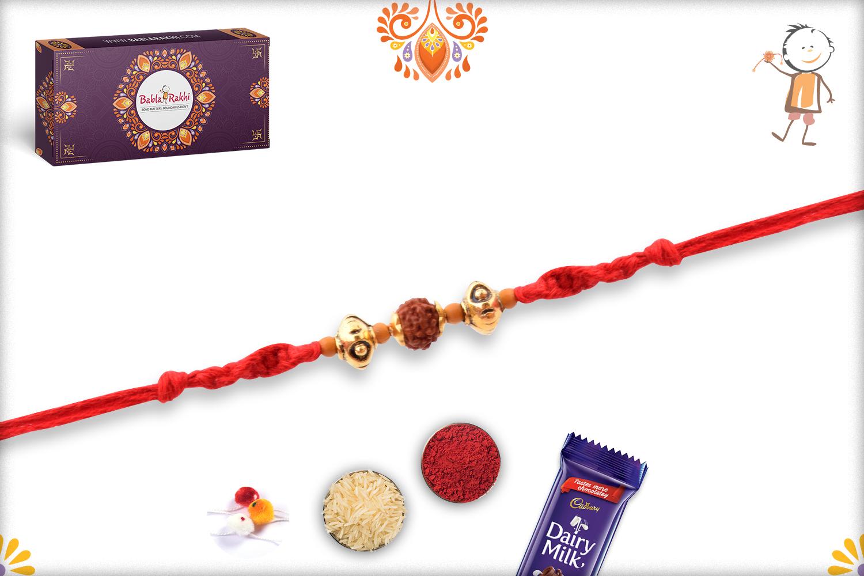 Prosporous Rudraksha With Designer Thread And Golden Beads Rakhi 2