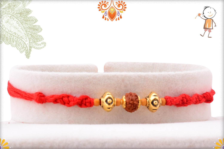 Prosporous Rudraksha With Designer Thread And Golden Beads Rakhi 1