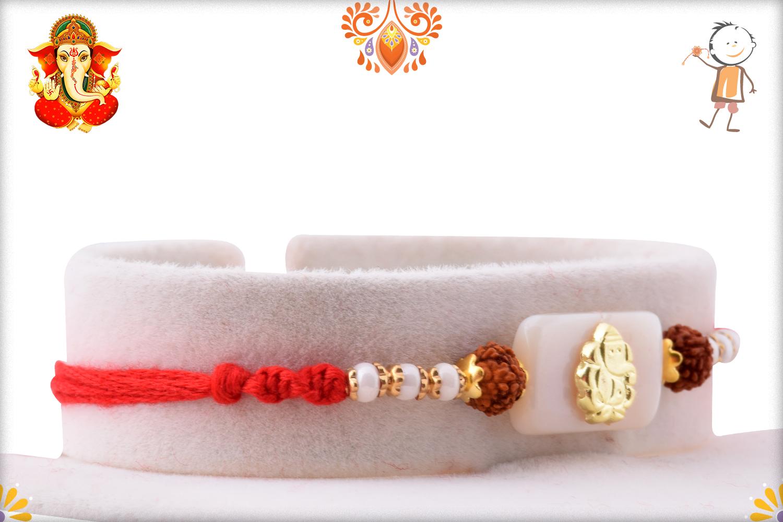 Prosporous Combination Of White Marble And Golden Ganpati With Rudraksha Rakhi 2