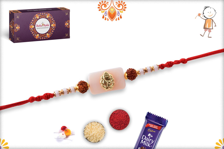 Prosporous Combination Of White Marble And Golden Ganpati With Rudraksha Rakhi 3