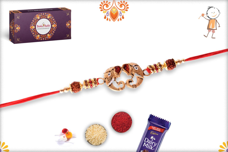 Aspicious Metalique Ganpati With Rudraksha Rakhi 3