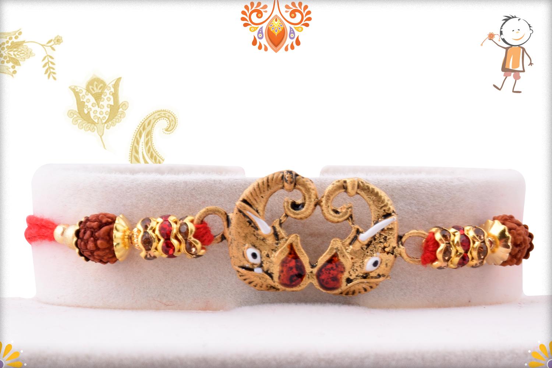 Aspicious Metalique Ganpati With Rudraksha Rakhi 1
