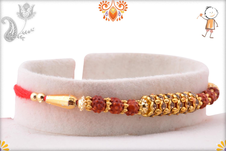 Prosporous Rudraksha With Metalique Design Design Rakhi 2
