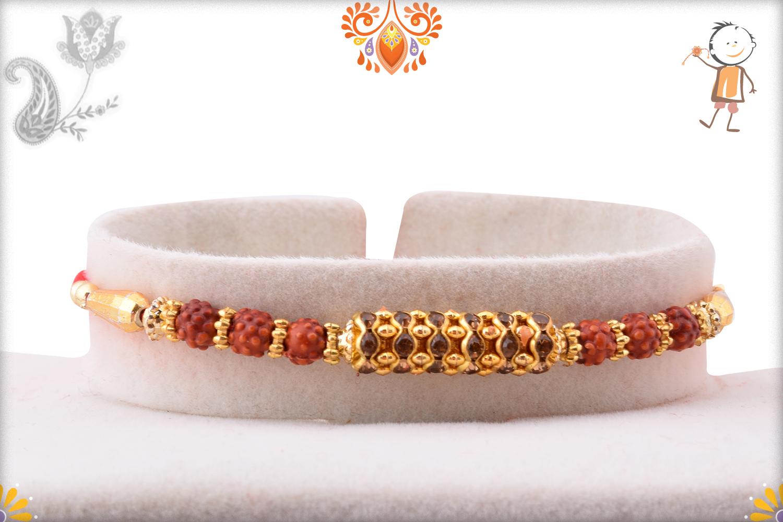 Prosporous Rudraksha With Metalique Design Design Rakhi 1