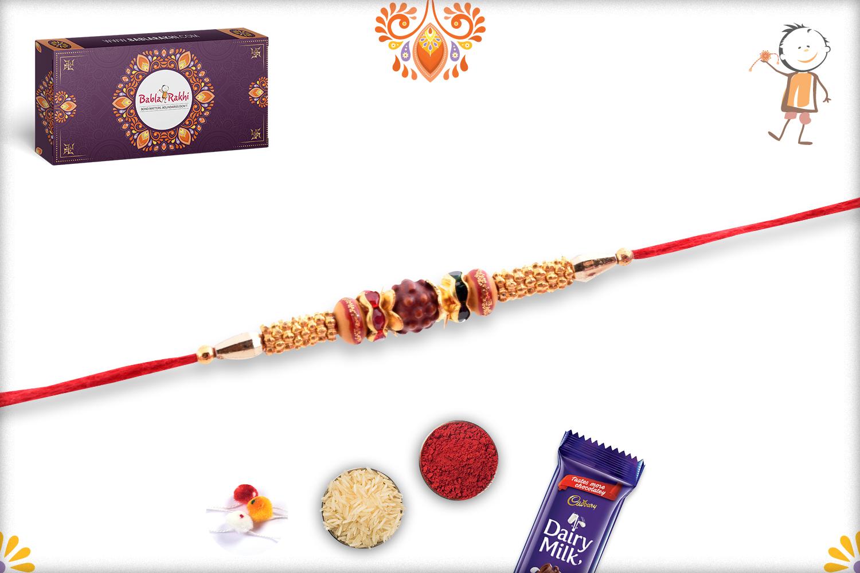 Simple Single Rudraksha Rakhi With Golden Design and Red Thread 2