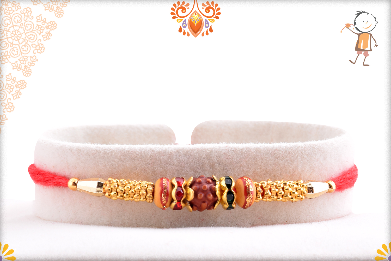 Simple Single Rudraksha Rakhi With Golden Design and Red Thread 1