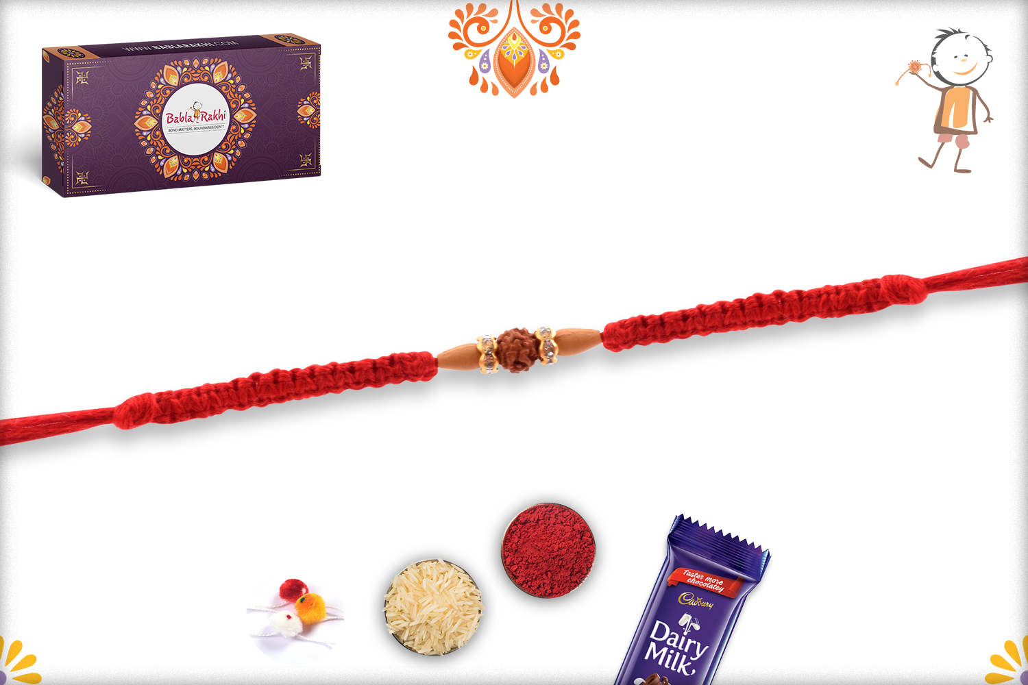 Beautiful and Eye-Catching Single Rudraksha Rakhi With Designer Thread 2