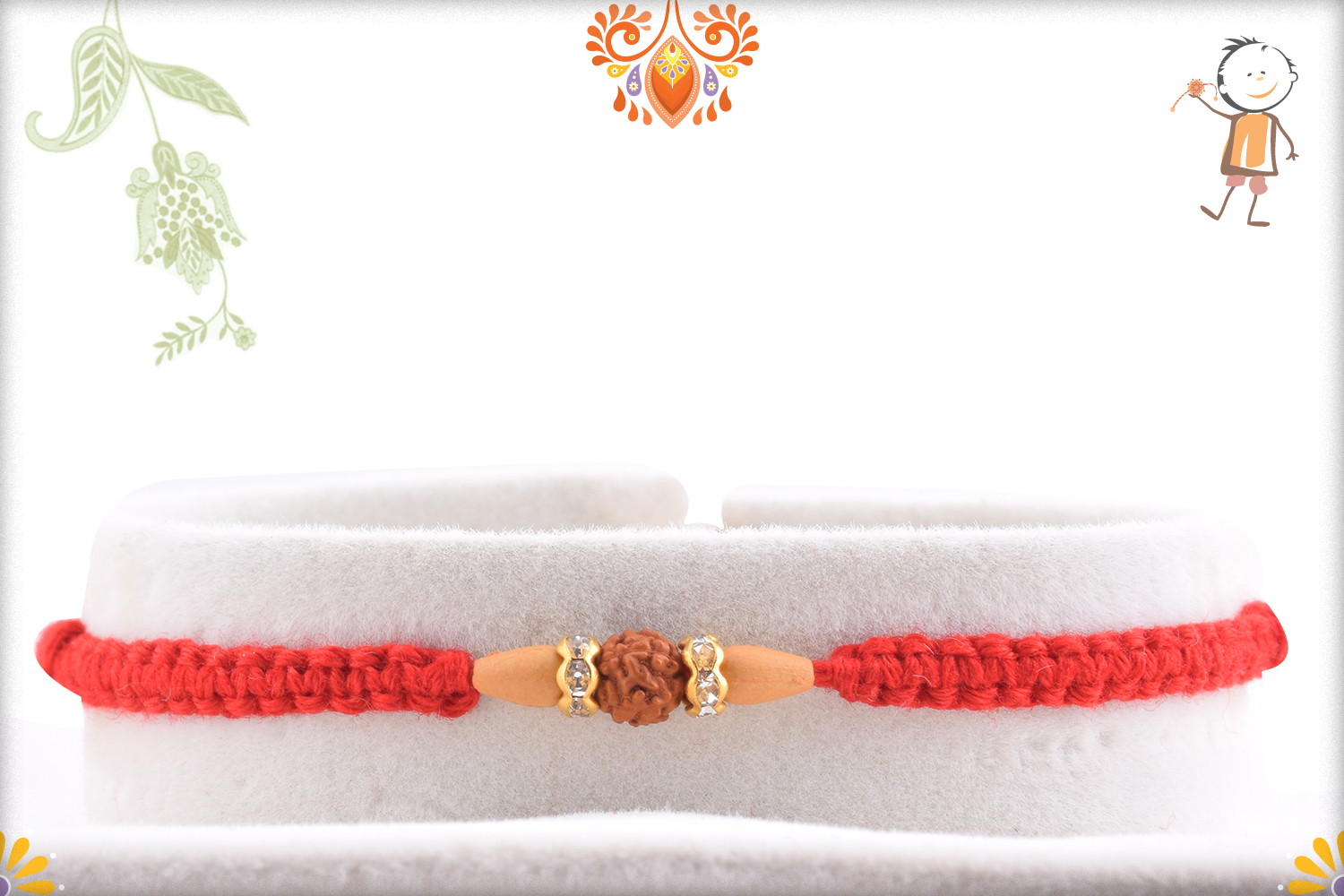 Beautiful and Eye-Catching Single Rudraksha Rakhi With Designer Thread 1