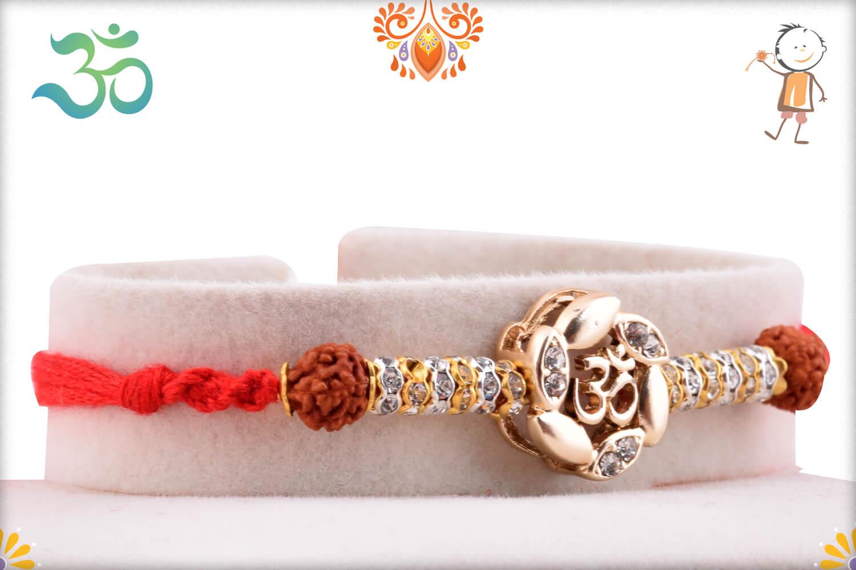 Dazzling Combination Of Golden Flower With Om In Center And Rudraksha Rakhi 2