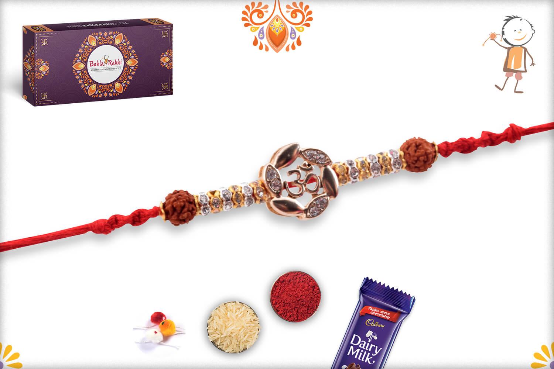 Dazzling Combination Of Golden Flower With Om In Center And Rudraksha Rakhi 3
