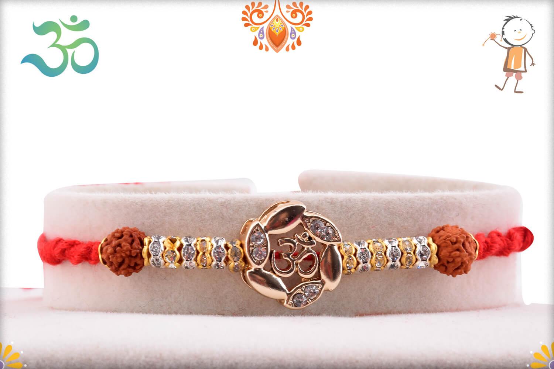 Dazzling Combination Of Golden Flower With Om In Center And Rudraksha Rakhi 1