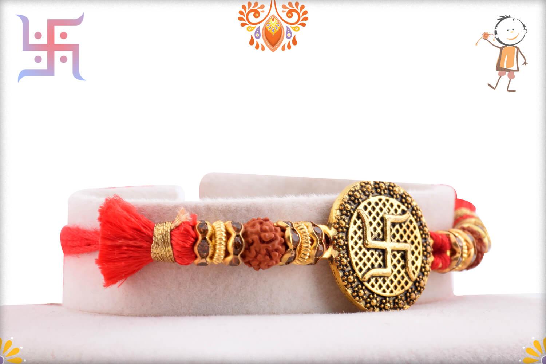 Stunning Metal Base Golden Swastik Rakhi With Designer Thread 2