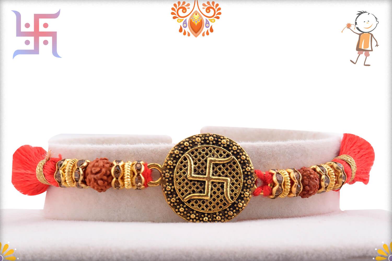 Stunning Metal Base Golden Swastik Rakhi With Designer Thread 1