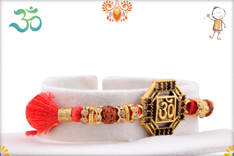 Stunning Metal Base Golden Om Rakhi With Designer Thread 2