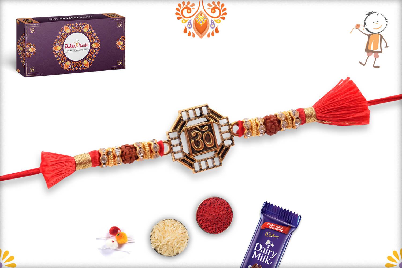 Stunning Metal Base Golden Om Rakhi With Designer Thread 3