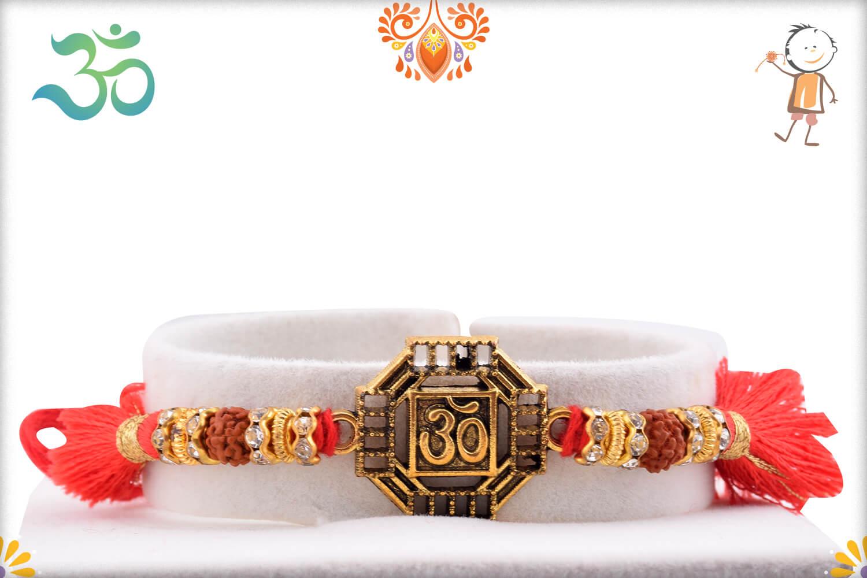 Stunning Metal Base Golden Om Rakhi With Designer Thread 1