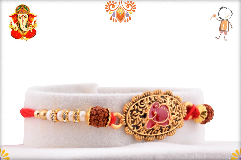 Antique Metal Base Golden Designer Rakhi With Rudraksha 1