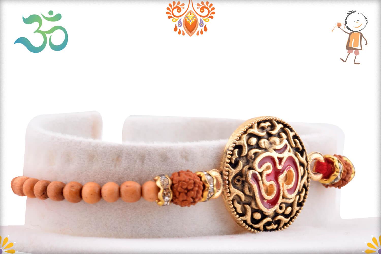 Royal Metal Base Om With Rudraksha And White Beads Rakhi 2