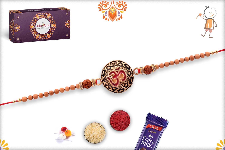 Royal Metal Base Om With Rudraksha And White Beads Rakhi 3