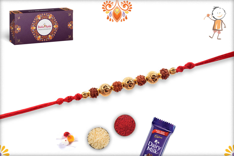 Aspisious Golden Designer Beads With Om In Center And Rudraksha Rakhi 2