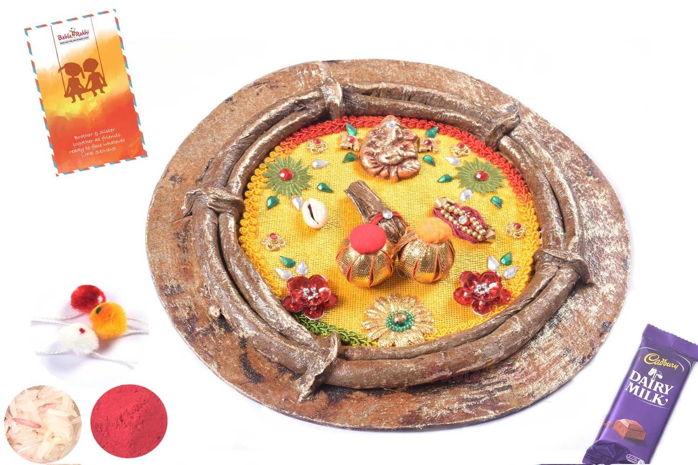 Elegant Yellow Rakhi Thali 1