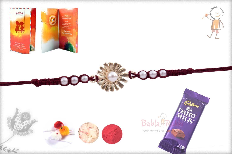 Beautiful Silver Flower with Pearls Rakhi 3
