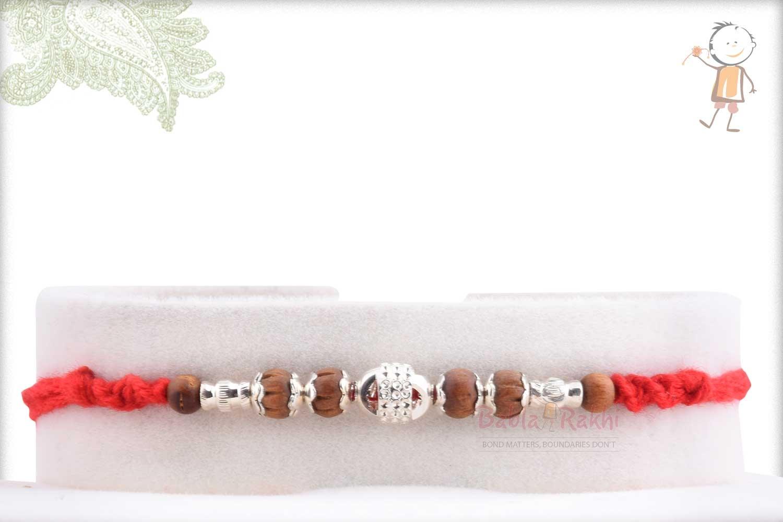 Designer Silver Bead with Sandalwood Beads Rakhi 1