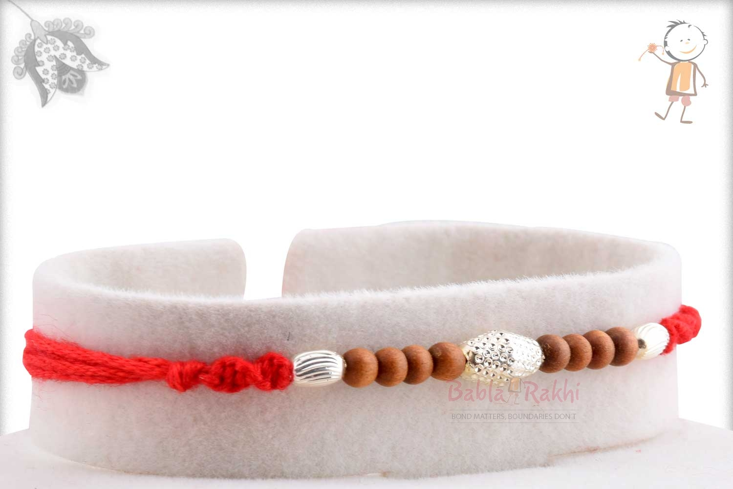 Delicate Silver Beads with Pattern Rakhi 2