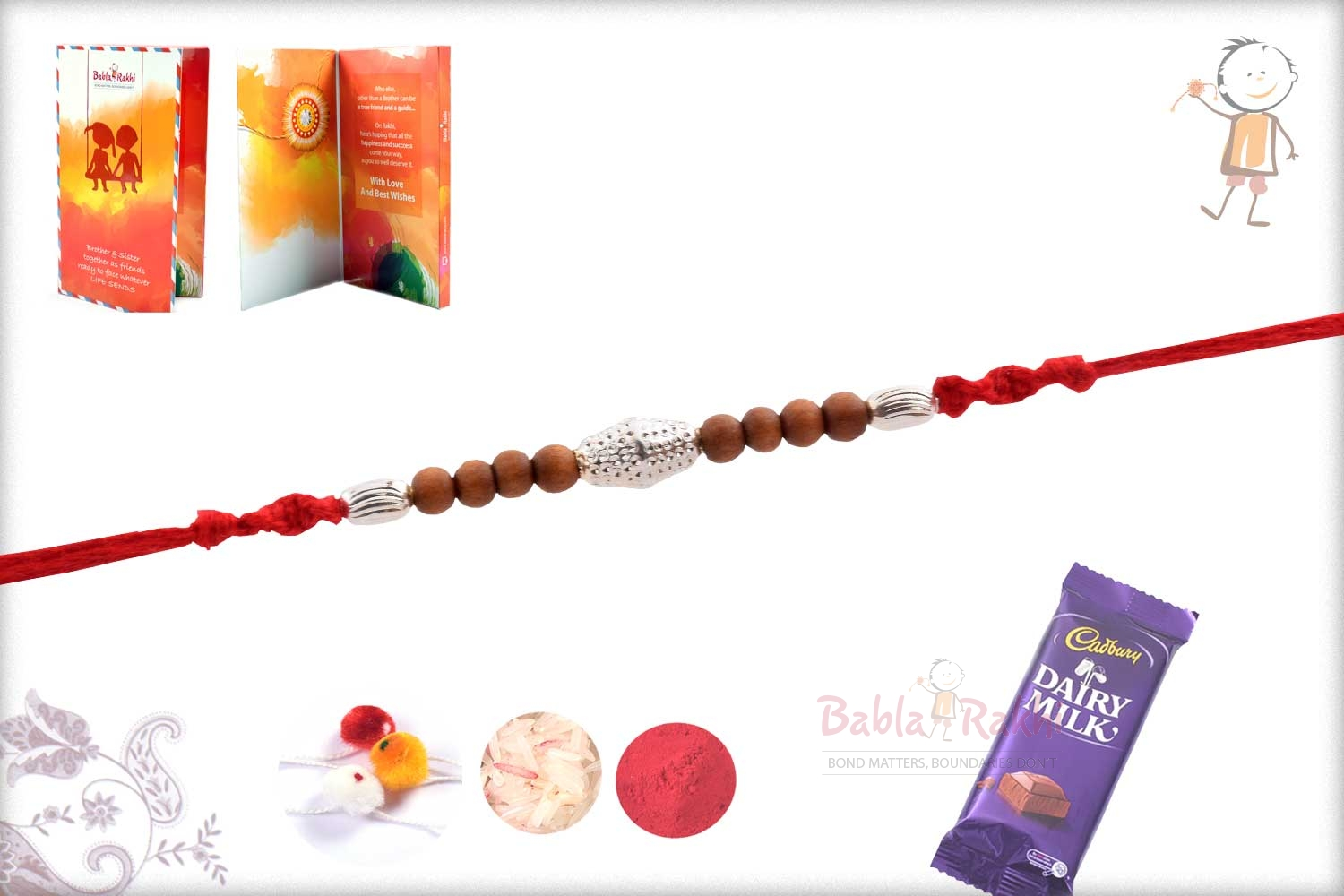 Delicate Silver Beads with Pattern Rakhi 3