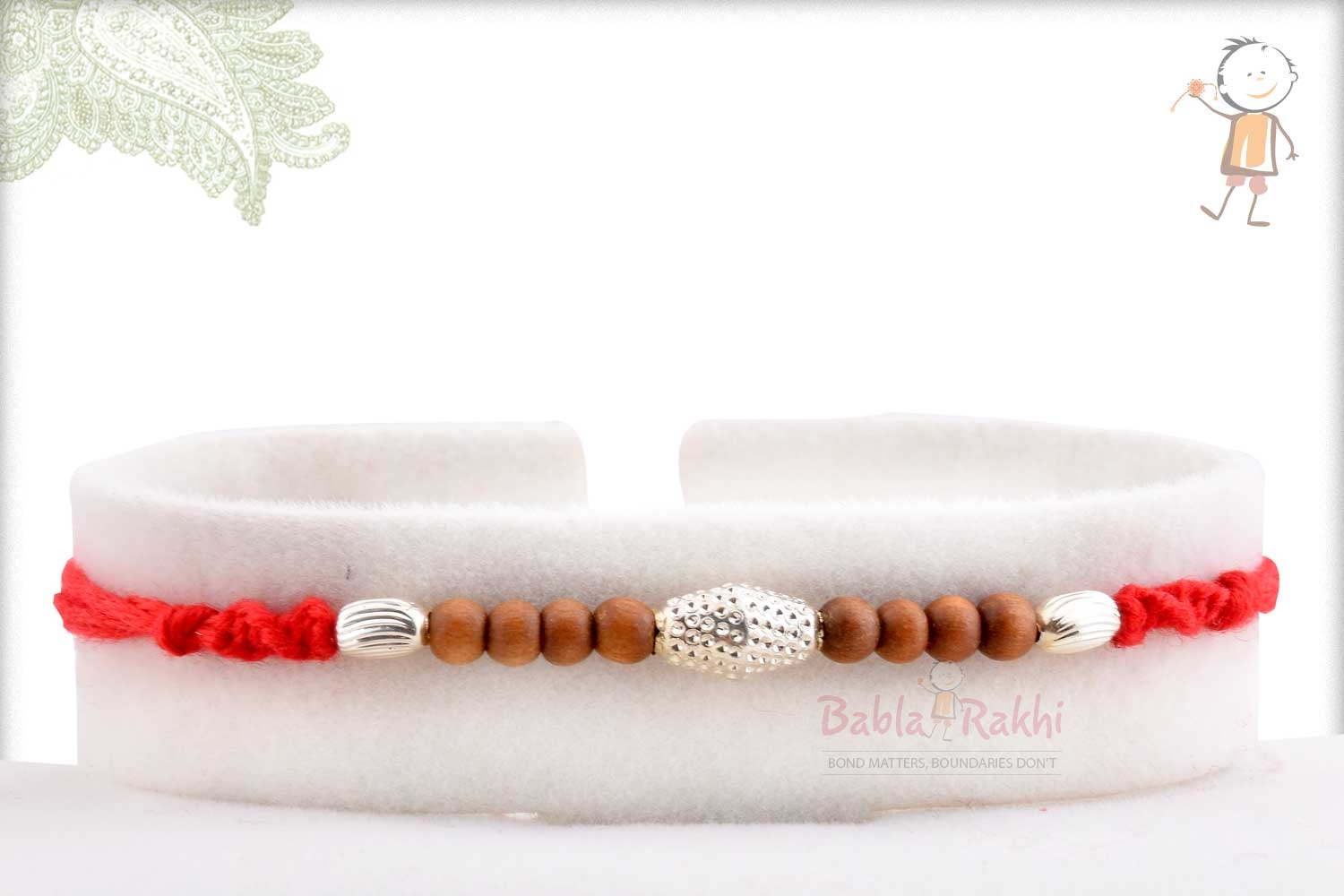 Delicate Silver Beads with Pattern Rakhi 1