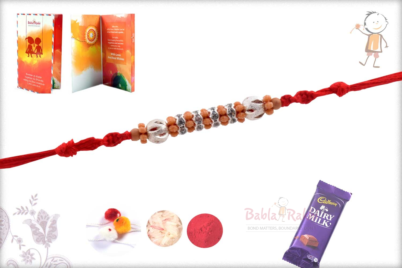 Designer Silver Beads with Diamonds Rakhi 2