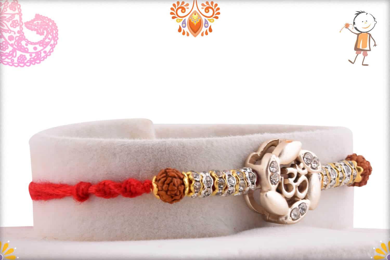 Premium Silver OM Rakhi with Rudraksh and Diamond Rings - Babla Rakhi