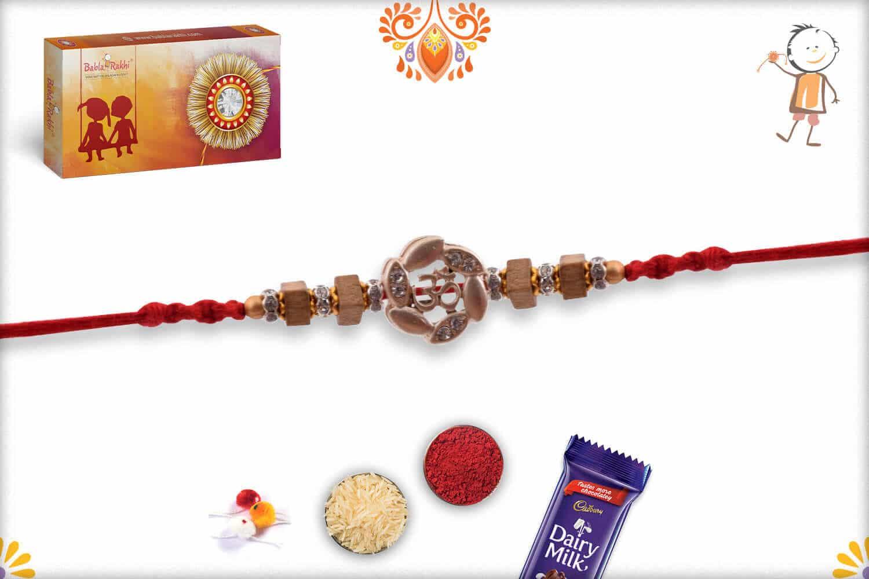 Silver OM Rakhi with Square Sandalwood Beads - Babla Rakhi
