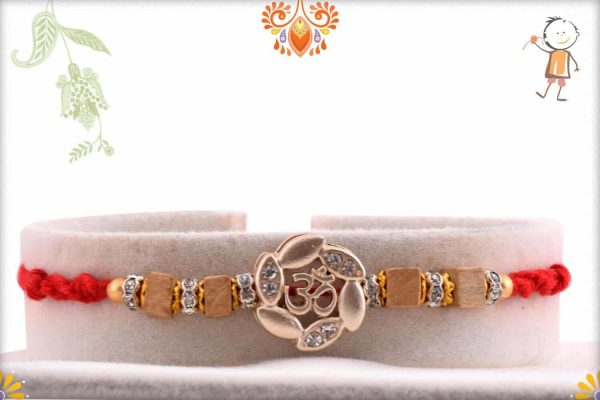 Silver OM Rakhi with Square Sandalwood Beads - Babla Rakhi