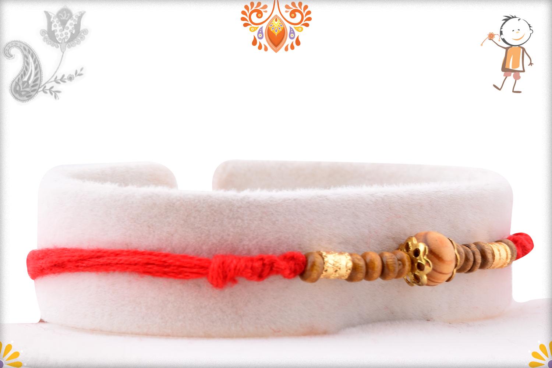 Simple Yet Beautiful Wooden Beads Rakhi 2