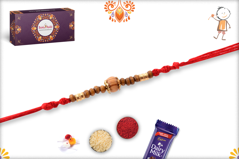 Simple Yet Beautiful Wooden Beads Rakhi 3