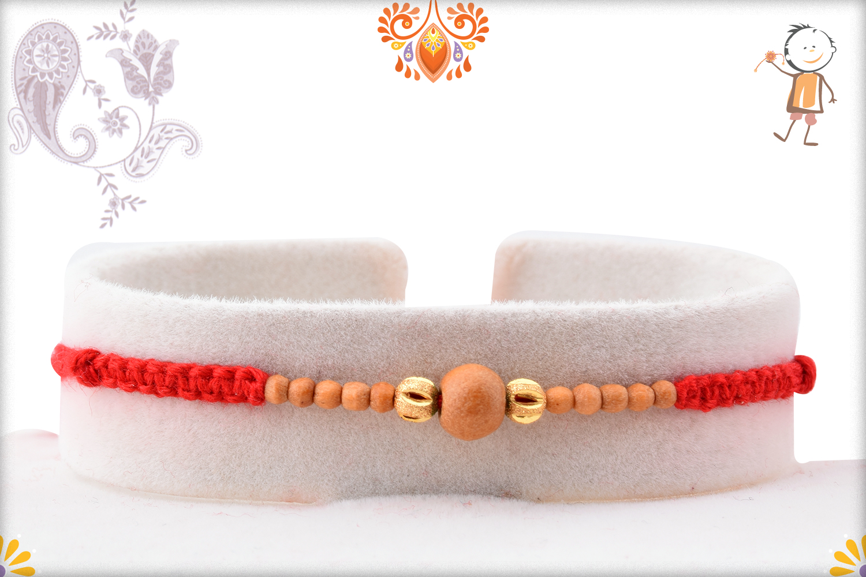 Exclusive Golden and Wooden Beads Rakhi 1