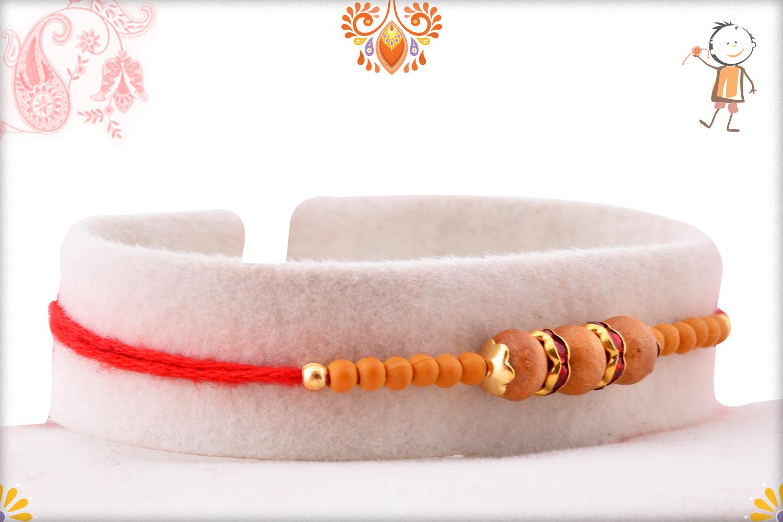 Exclusive Triple Wooden Beads Rakhi With Designer Thread 2