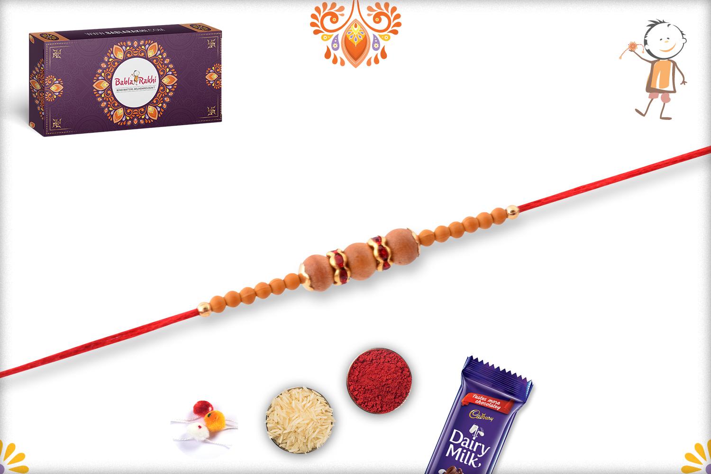 Exclusive Triple Wooden Beads Rakhi With Designer Thread 3