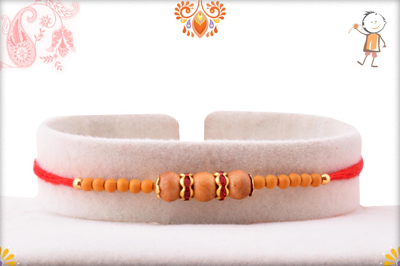 Exclusive Triple Wooden Beads Rakhi With Designer Thread 1